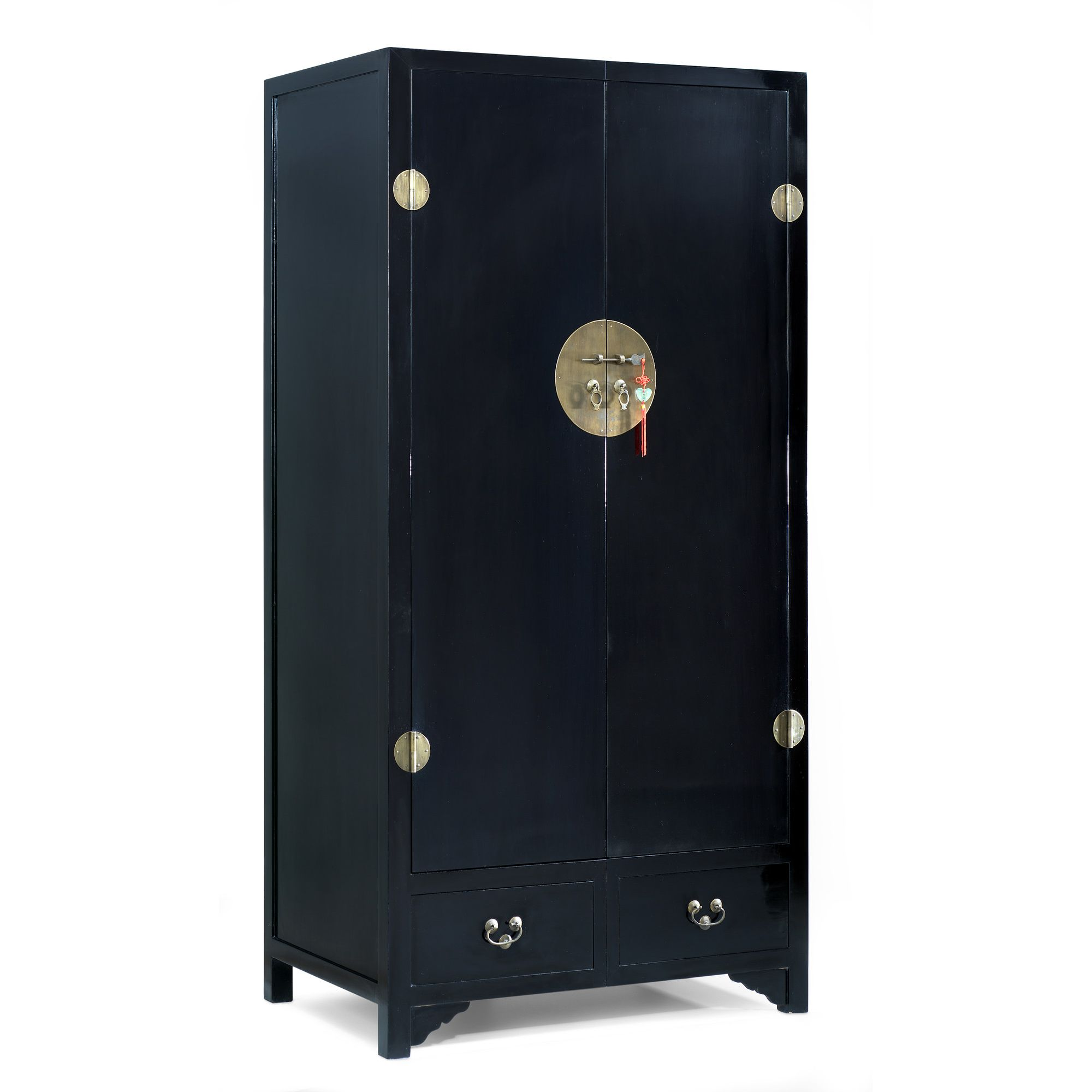 Shimu Chinese Classical Ming Wardrobe - Black Lacquer at Tesco Direct