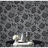 Graham & Brown Ophelia Flock Wallpaper - Shimmering Charcoal