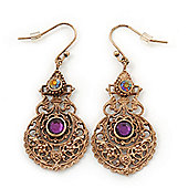 Vintage Inspired Filigree Purple Crystal Drop Earrings In Antique Gold Metal - 50mm Length