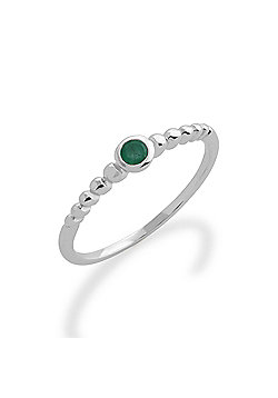 Gemondo Emerald Ring, 925 Sterling Silver 0.11ct Emerald Stackable Birthstone Ring