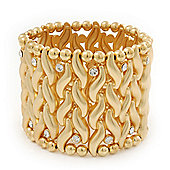 Wide Gold Plated Crystal 'Plaited' Flex Bracelet - 19cm Length