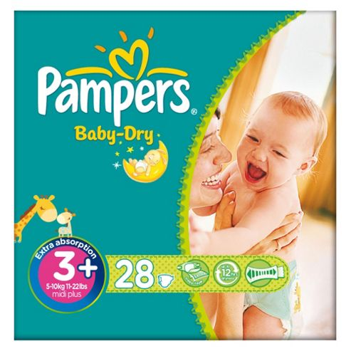 Pampers Baby Dry Size 3+ Carry Pack - 28 nappies