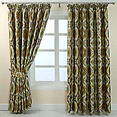 """Homescapes Green and Gold Jacquard Curtain Geometric Diamond Design Fully Lined - 90"""" X 72"""" Drop"""