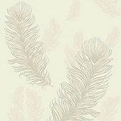 Precious Metals Sirius Feathers Wallpaper - Pearl - Arthouse 673603