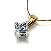 18ct Gold 5.5mm Square Brilliant Moissanite Pendant & Chain