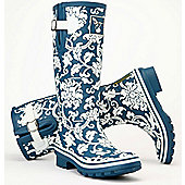 Evercreatures Ladies Delft Wellies Blue With Floral Pattern 5