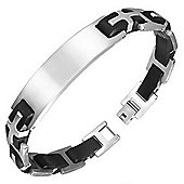 Urban Male ID Bracelet For Men In Stainless Steel & Black Rubber