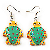 Funky Wooden Turtle Drop Earrings (Yellow & Light Green) - 4.5cm Length