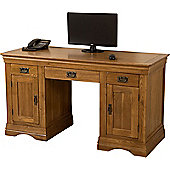 French Chateau Rustic Solid Oak Large Office Computer Desk