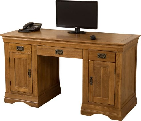 Buy french chateau rustic solid oak large office computer desk from our office desks tables - Tesco office desk ...
