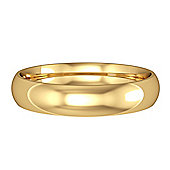 Jewelco London 9ct Yellow Gold - 4mm Essential Court-Shaped Band Commitment / Wedding Ring -