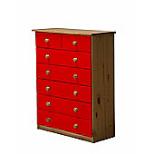 Verona Drawer Chest 5 + 2 Colour Antique and Red