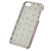 "Tortoiseâ""¢ Hard Protective Case,iPhone 5/5S.Clear with Metalic Pink Heart Print."