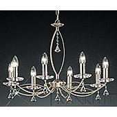 Franklite Monaco 8 Light Candle Chandelier with Flush Conversion - Satin Nickel