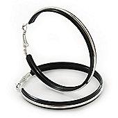 Large Black Enamel Hoop Earrings In Silver Tone - 60mm Diameter