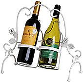 Leaf - Decorative Metal 2 Wine Bottle Holder - White