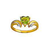 QP Jewellers Diamond & Peridot Affection Heart Ring in 14K Gold