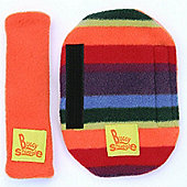 Buggy Snuggle Orange Fleece Strap Covers (Warm Stripe)