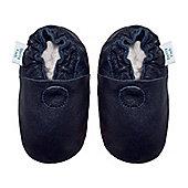 Dotty Fish Soft Leather Baby Shoe - Plain Navy - Navy