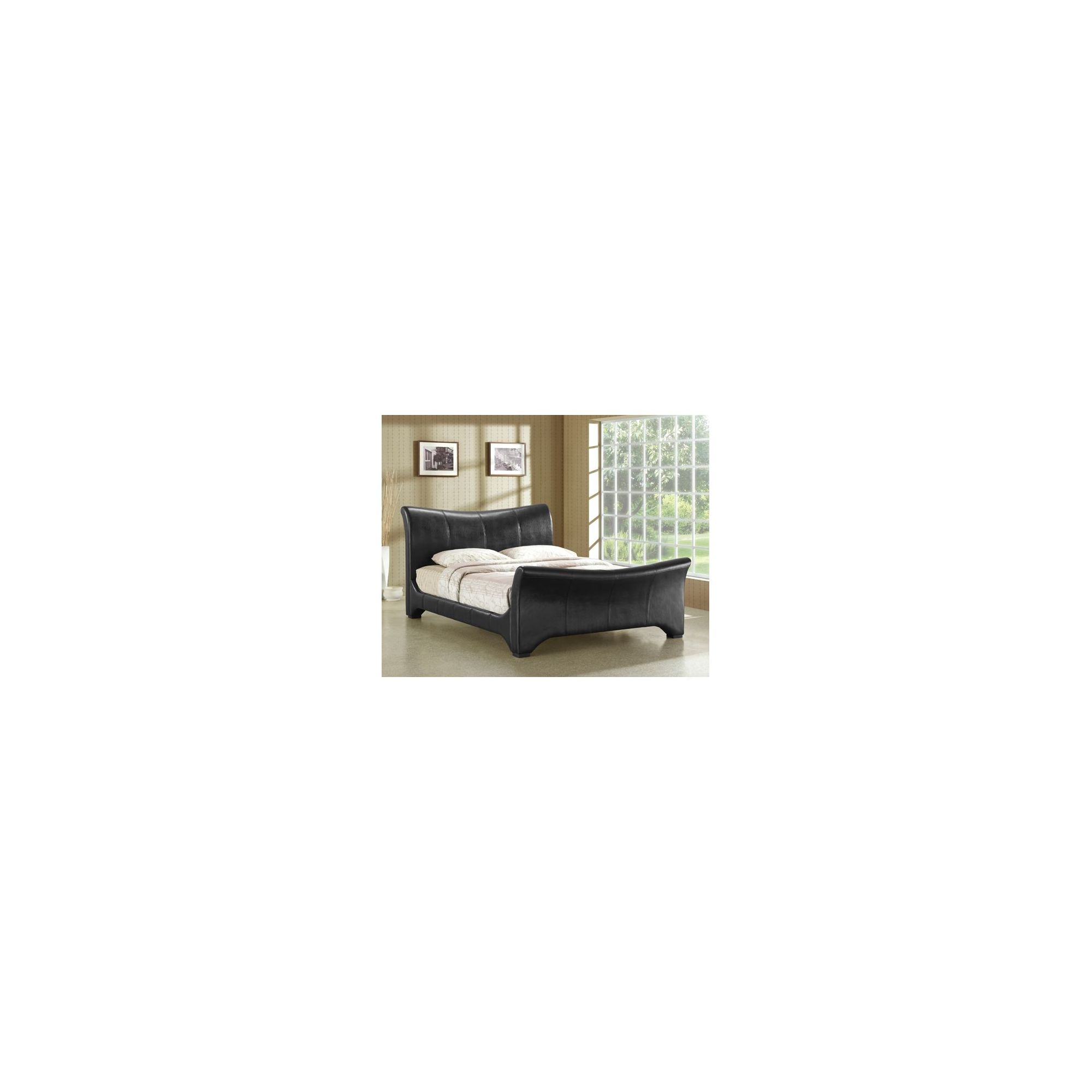 Altruna Wave Faux Leather Bed Frame - Double - Black at Tesco Direct