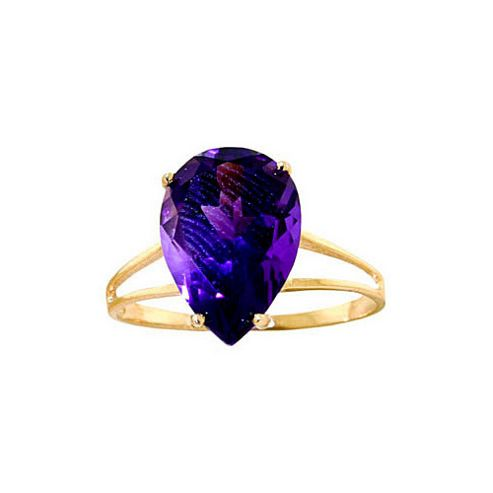 QP Jewellers 5.0ct Amethyst Pear Drop Ring in 14K Gold - Size A