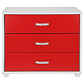 Reno 3 Drawer Chest White & Red