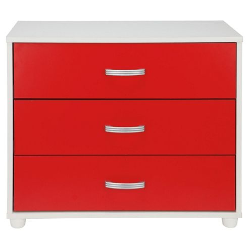 Reno 3 Drawer Chest, White/Red