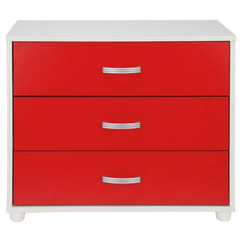 Reno 3 Drawer Chest, White/Red