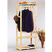 Pine - Solid Wood Double Storage Wardrobe / Clothes Hanging Rail