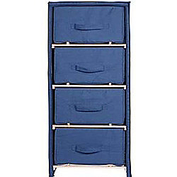 Solid Wood + Canvas 4 Drawer Storage Chest - Navy Blue