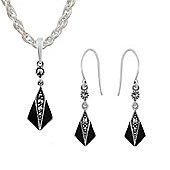 Gemondo Sterling Silver Marcasite & Black Enamel Art Deco Drop Earring & Necklace Set