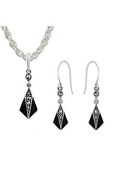 Gemondo Sterling Silver Marcasite & Black Enamel Art Deco Drop Earring & Necklace Set
