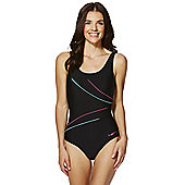 Zoggs Graphic Line Scoop Back Swimsuit - Black
