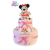 Pink New Baby Girl Disney Minnie Mouse Nappy Cake Gift (2 tier)