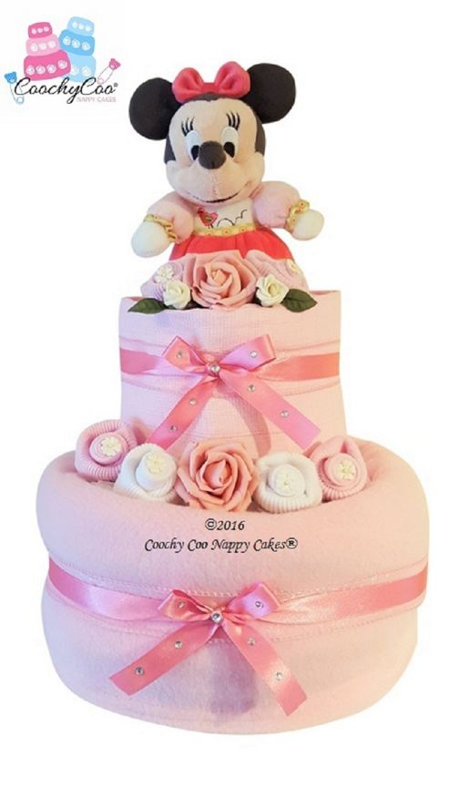 Buy Pink New Baby Girl Disney Minnie Mouse Nappy Cake Gift