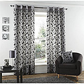 Curtina Ashcroft Silver 46x90 inches (116x228cm) Eyelet Curtains