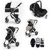Tutti Bambini Riviera Plus 3 in 1 Silver Travel System - Black/Taupe
