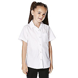 F&F School 2 Pack of Girls Revere Collar Easy Iron Short Sleeve Shirts