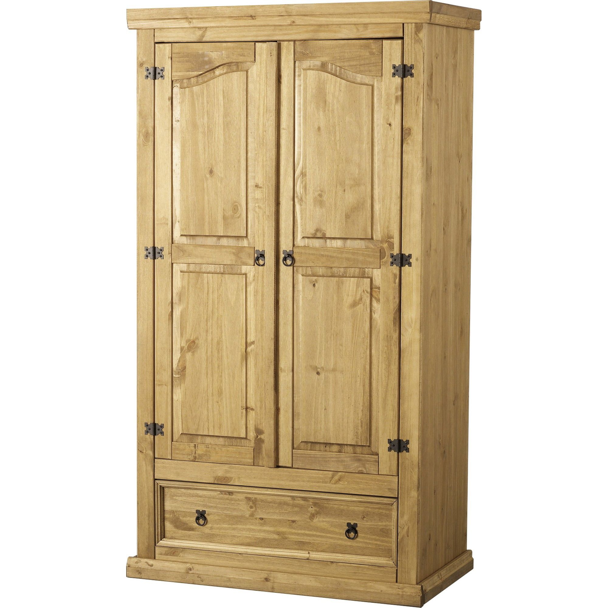Home Essence Corona Two Door Wardrobe in Distressed Waxed Pine at Tesco Direct
