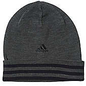 adidas Performance 3 Stripe Woolie Beanie Hat Charcoal - Mens