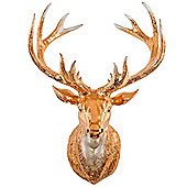 Antique Copper Wall Mountable 34cm Stag's Head Sculpture for the Home