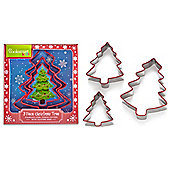 Cooksmart Stainless Steel Christmas Tree Cookie Cutters, Set of 3