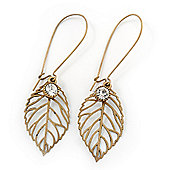 Vintage Inspired Diamante Filigree 'Leaf' Drop Earrings In Burn Gold Tone - 65mm Length