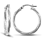Jewelco London 9ct White Gold 2.5mm round-tube Twisted hoop Earrings