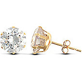 Jewelco London 9ct Yellow Gold studs claw-set with 7mm Solitaire CZ stone