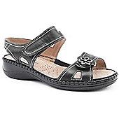 Caravelle Ladies Wide Fit Metallic Flower Black Sandals - Black