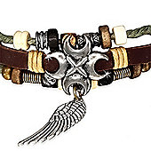 Urban Male Men's Surfer Style Charm & Bead Bracelet Cord & Leather