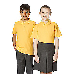 F&F School 2 Pack of Unisex Polo Shirts with As New Technology years 04 - 05 Yellow