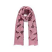Dusky Pink Bird Print Long Scarf