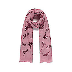 Dusky Pink Bird Print Long Scarf